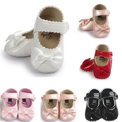Toddler Girl Leater Crib Shoes Fall Baby Bowk Soft Sole Prewalker Sneakers