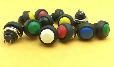 1-100pc colors M4 12mm Waterproof Momentary ON/OFF Push Button Round SPST Switch