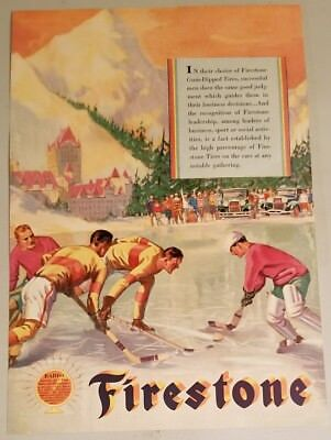 Vintage 1929 FIRESTONE Tires Advertisement ICE HOCKEY Themed ART Painting Print