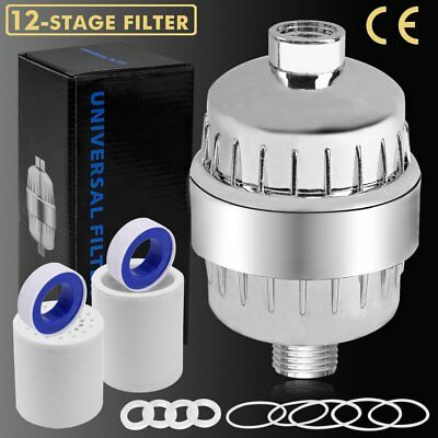 12-Stage Shower Filter Water Purifier Hard Water Softener with Replacement