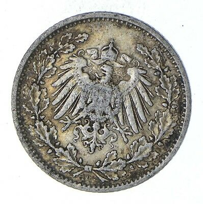 Roughly Size of a Dime - 1905 Germany 1/2 Mark - World Silver Coin *928
