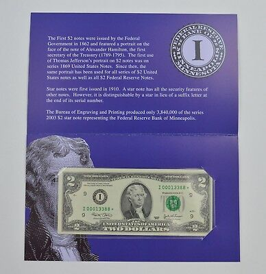Series Federal Reserve Bank of Minneapolis $2 Star Note *077
