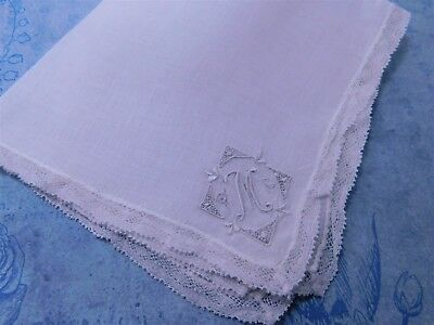 Vintage Linen Madeira Monogram M Hanky-Handkerchief-Valenciennes Lace Edged
