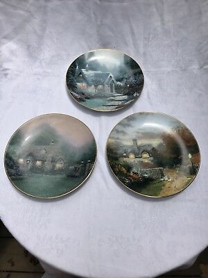 3 THOMAS KINKADE KNOWLES COTTAGE COLLECTOR PLATES Open Gate Cedar Nook Merritt's