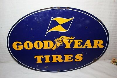 "Rare Vintage c.1940 Goodyear Tires Gas Station 2 Sided 28"" Porcelain Metal Sign"