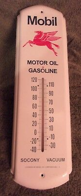 """Mobil Oil Gasoline Thermometer Socony Pegasus - No Date 5 X 17.5 """" Stunning Cond"""