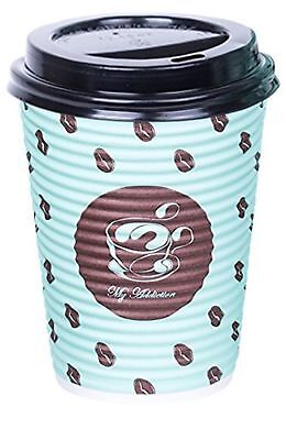 PREMIUM Set of 100 Paper Coffee hot Cups, Disposable Coffee Cups with Lid, 12 Oz