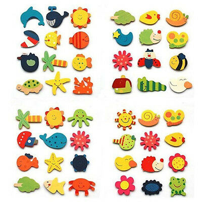 12Pcs Cute Baby Kids Wooden Cartoon Animal Fridge Magnet Child Educational Toys