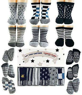 Tiny Captain Toddler Boy Non Slip Socks, Best Gift For 1-3 Year Old Boys Baby