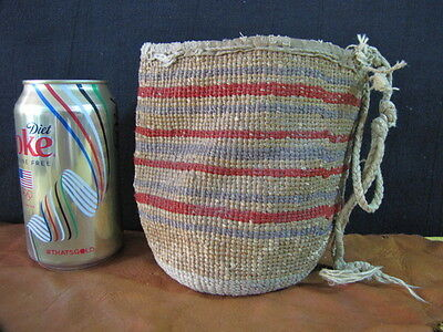 """Vintage Wasco Yakama Twined Root Collection Basket Sally Bag 5 1/2"""" Tall"""