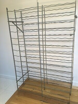 French Metal Industrial Rigidex vintage freestanding wine rack. Holds approx 290