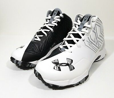Under Armour Banshee Mid Mens Turf Shoes Sample Promo Black White Size 9.5