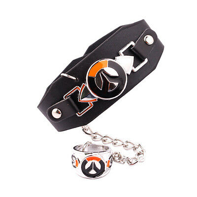 Overwatch Punk Leather Metal Charms Wristband Enamel Ring Fashion Jewelry Gift