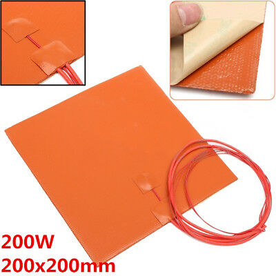 200W 12V 200x200mm Waterproof Flexible Silicone Heating Pad Heater For 3D Print