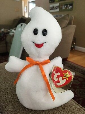 """Ty Beanie Babies Baby """"Spooky"""" the Ghost Halloween 1995 (KC)"""