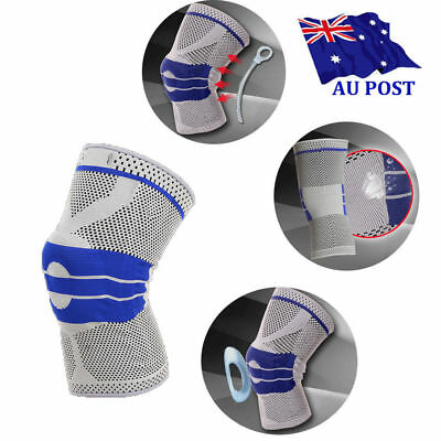 Contoured Full Knee Brace Strap Patella Medial Support Protector Silicone Gel ON