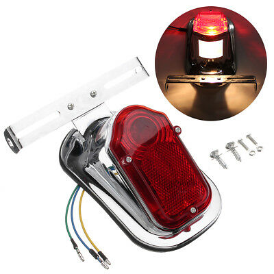 Motorcycle Chrome Red Tombstone Rear Brake Tail Light Signal 12V For Harley Bike