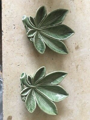 Wade Vintage Collectable Pair Of Green Pin Dishes
