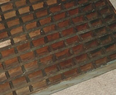 """Primitive Antique Wood Divided Tray Shadow Box 16x24"""" 169 Tiny Compartments"""