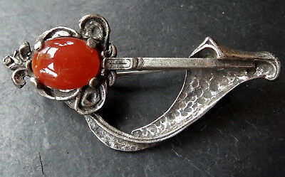 vintage signed MIRACLE Scottish unusual design glass carnelian red brooch -15