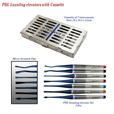 X 7 PDL Luxating elevators with Slim Cassette Micro Serrated Tip Dental implants