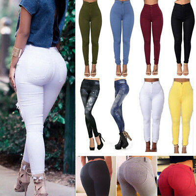 Womens High Waist Stretch Leggings Slim Skinny Pencil Pants Trousers Jeggings