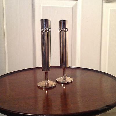 1960's TWO MODERNISTIC SILVER PLATED BUD VASES