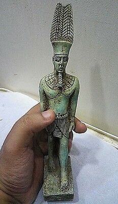 RARE ANCIENT EGYPTIAN ANTIQUE RAMSES STATUE with Nefertari Crown 1750-1720 BC