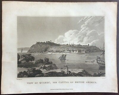 Rare engraving showing Quebec at the start of the 19th century