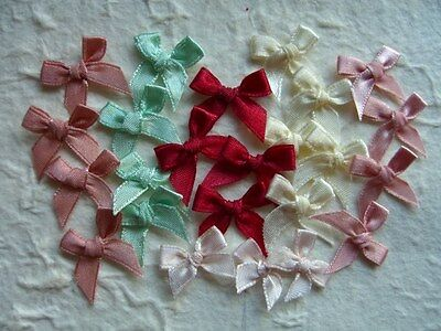 50 TIED 8mm RIBBON BOWS TRB3V Vintage Mix SCRAPBOOKING PartyInvites Cards Sewing