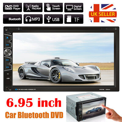 6.95'' Double 2 DIN Car DVD CD Player Radio Stereo Head Unit Bluetooth Touch USB