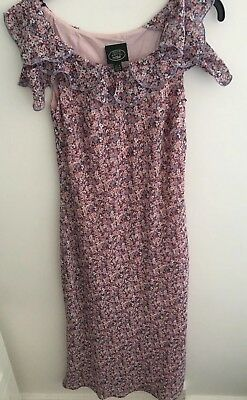 Beautiful Laura Ashley Pretty Vintage Floral Frill Summer Dress Size 8