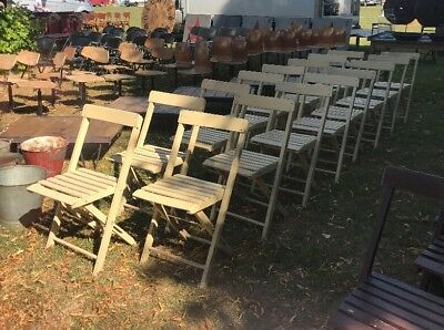 Job Lot of 16 Vintage Painted Wooden Folding Chairs Garden Cafe Bar