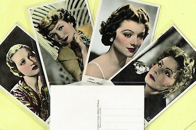ERPE - 1930s COLOUR/TINTED Film Star Postcards Issued in France #501 to #700