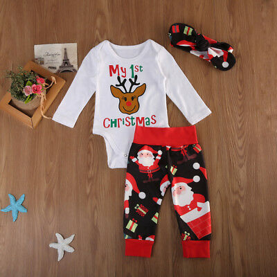 1st Christmas Newborn Baby Girl Boy Long Sleeve Romper Tops Pants Outfit Clothes