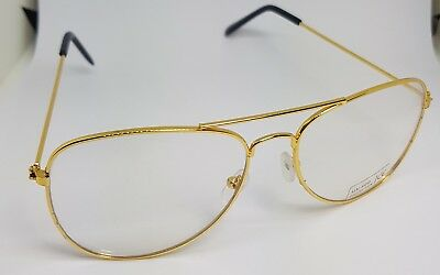 Gold Frame Metal Vintage 80s Style Clear Lens Fashion Aviator Sunglasses UV400