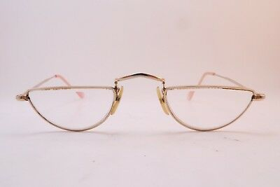 Vintage gold filled half eye reading eyeglasses frames Algha 12KT GF England