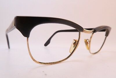 Vintage 50s eyeglasses frames gold filled brown acetate Doublé Or Laminé France