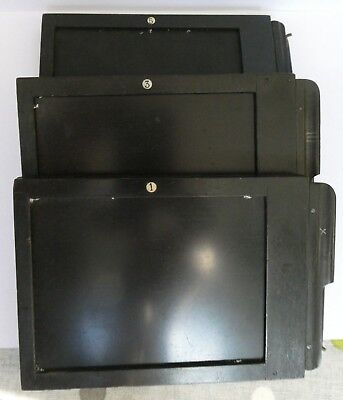 Three Vintage Wooden Double-Sided Dark Slides for 3¼ x 4¼ Film