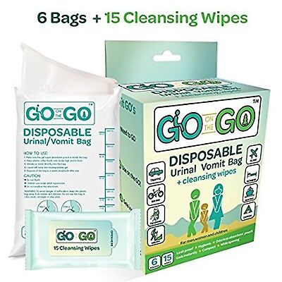 Go On The Go Disposable Urinal and Vomit Bags for Female and Male, Take Along...