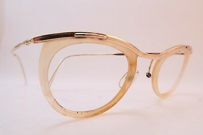 Vintage 50s eyeglasses frames gold filled AMOR clear lens surrounds France