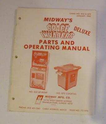1980 Midway Space Invaders Deluxe Parts and Operating Manual Free USA Shipping!