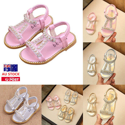 Baby Girls Kids Crystal Ankle Strappy Beach Sandals Casual Party Princess Shoes