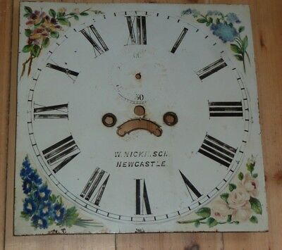 """Antique 8 Day Longcase Dial signed W Nickinson Newcastle 13"""" square"""