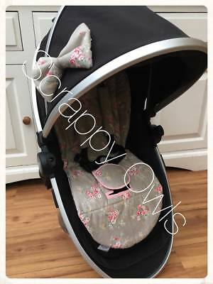 universal pram/buggy liner grey floral silver cross oyster icandy mothercare