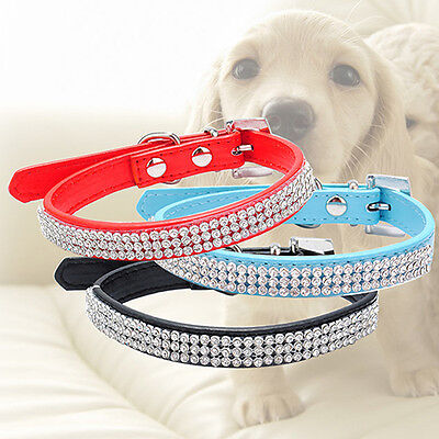 NE_ 3 Row Bling Rhinestone Small Pet Dog Faux Leather Buckle Cute Cat Puppy Co