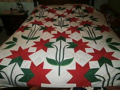 Gorgeous Poinsettia Handstitched Quilt  102 x 82