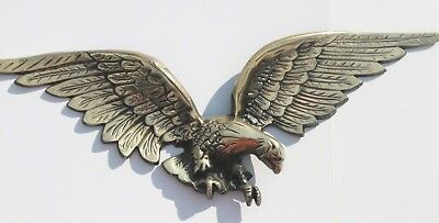 "Vintage Large 25"" Metal American Eagle Plaque Wall Hanging Brass Finish Japan"