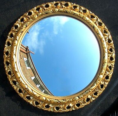 Vintage Antique Rococo Style Carved Gilt Gold Wood Framed Convex Wall Mirror