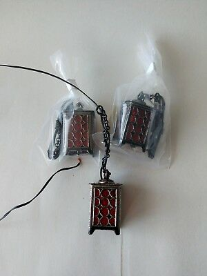 Dollhouse Miniature 1:12 Hanging Pewter Lantern/Lamps 3pc lot.